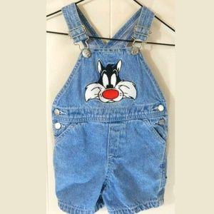 Vintage Warner Bros Baby Sylvester Overalls